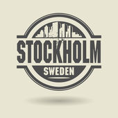 Stamp or label with text Stockholm, Sweden inside — Stock Vector