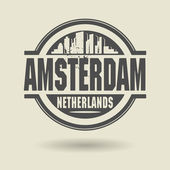 Stamp or label with text Amsterdam, Netherlands inside — Stock Vector