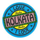 Grunge color stamp with text I Love Kolkata inside — Stok Vektör