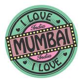 Grunge color stamp with text I Love Mumbai inside — Stok Vektör