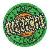 Grunge color stamp with text I Love Karachi inside — Stock Vector