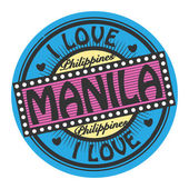 Grunge color stamp with text I Love Manila inside — Stock Vector