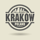 Stamp or label with text Krakow, Poland inside — Stock Vector
