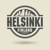 Stamp or label with text Helsinki, Finland inside — Stock Vector