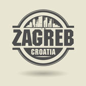 Stamp or label with text Zagreb, Croatia inside — Stock Vector
