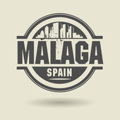 Stamp or label with text Malaga, Spain inside — Stock Vector