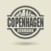 Stamp or label with text Copenhagen, Denmark inside — Stock Vector