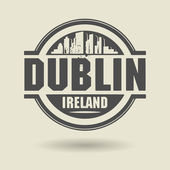 Stamp or label with text Dublin, Ireland inside — Stock Vector