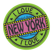 Grunge color stamp with text I Love New York inside — Stock Vector