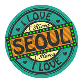 Grunge color stamp with text I Love Seoul inside — Stock Vector