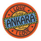 Grunge color stamp with text I Love Ankara inside — Stok Vektör