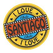Grunge color stamp with text I Love Santiago inside — Stockvektor