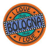 Grunge color stamp with text I Love Bologna inside — Stock Vector