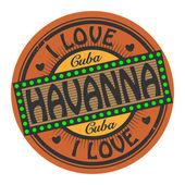 Grunge color stamp with text I Love Havanna inside — Stok Vektör