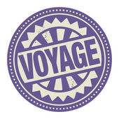 Stamp or label with the text Voyage — Stock Vector