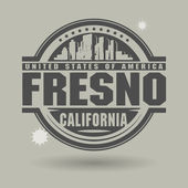 Stamp or label with text Fresno, California inside — Stock Vector