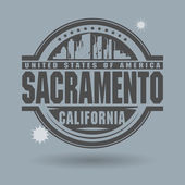 Stamp or label with text Sacramento, California inside — Stock Vector