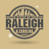 Stamp or label with text Raleigh, North Carolina inside — Vettoriale Stock