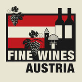 Stamp or label with words Fine Wines, Austria — Vettoriale Stock
