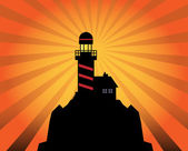 Lighthouse silhouette on abstract background — Stock Vector