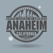 Stamp or label with text Anaheim, California inside — Stock Vector