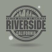 Sello o etiqueta con el texto de riverside, california dentro de — Vector de stock