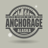 Stamp or label with text Anchorage, Alaska inside — Stock Vector