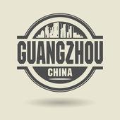 штамп или метку с текстом гуанчжоу, китай внутри — Cтоковый вектор