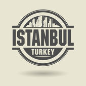 Stamp or label with text Istanbul, Turkey inside — Stock Vector