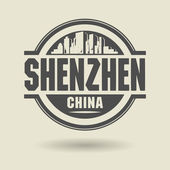 Stamp or label with text Shenzhen, China inside — Stock Vector