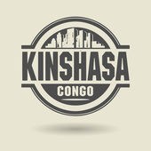 Stamp or label with text Kinshasa, Congo inside — Stock Vector