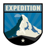 Mountain adventure label — Stock Vector