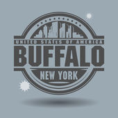 Stamp or label with text Buffalo, New York inside — ストックベクタ