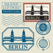Stamps set with word Berlin inside — Stock Vector