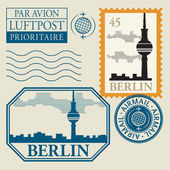 Stamp set with word Berlin inside — Stock Vector