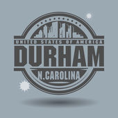 Stamp or label with text Durham, North Carolina inside — 图库矢量图片