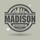 Stamp or label with text Madison, Wisconsin inside — 图库矢量图片