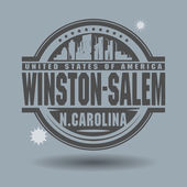 Stamp or label with text Winston-Salem, North Carolina inside — Cтоковый вектор