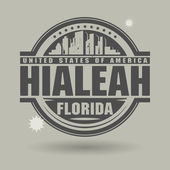 Stamp or label with text Hialeah, Florida inside — Cтоковый вектор