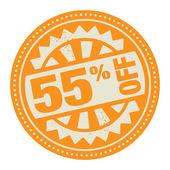 Abstract stamp or label with the text 55 percent off — Stock Vector