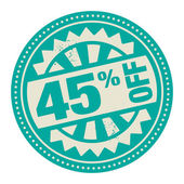 Abstract stamp or label with the text 45 percent off — Stock Vector