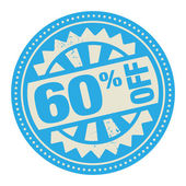 Abstract stamp or label with the text 60 percent off — Stock Vector