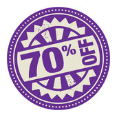 Abstract stamp or label with the text 70 percent off — Stock Vector