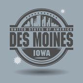 Штамп или метку с текстом Де-Мойн, Айова внутри — Cтоковый вектор