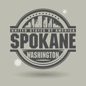 Stamp or label with text Spokane, Washington inside — Stock Vector