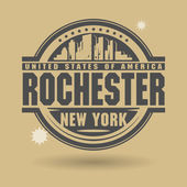 Stamp or label with text Rochester, New York inside — Stock Vector