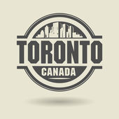 Stamp or label with text Toronto, Canada inside — Stock Vector