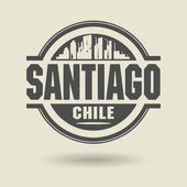 Stamp or label with text Santiago, Chile inside — Vector de stock