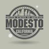Stamp or label with text Modesto, California inside — 图库矢量图片
