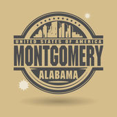 Stamp or label with text Montgomery, Alabama inside — Stock Vector